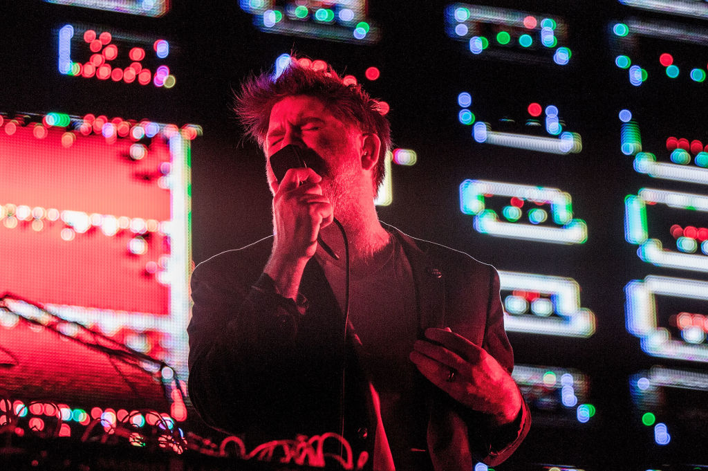 GEORGE, WA - MAY 26:  James Murphy of LCD Soundsystem performs on stage at the Sasquatch! Music Festival at Gorge Amphitheatre on May 26, 2017 in George, Washington.  (Photo by Suzi Pratt/WireImage)